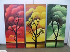 Trees Trees Trees 3 matching paintings 3 colours | Trade Me