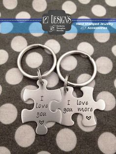 Personalized Puzzle Piece Key Chain Duo Her One His Only - These Hand Stamped Stainless Steel Key Chains make a great anniversary gift
