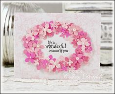 24 best ide communion images on pinterest communion invitations greeting card with sentiment framed by dozens of punched pink hydrangea blossoms m4hsunfo