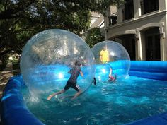 Inflatable water walking ball, plus our inflatable pool, and then you can put them in your  backyard and play with your family together.