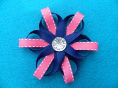 Blue+and+PinkSnowflakeHairbowGirls+HairbowsBaby+by+BellesBows2011,+$5.00