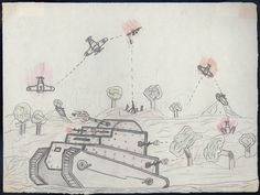"""During the Spanish Civil War (1936-1939) children were evacuated from the war zones to """"colonies"""" in the war-free areas of Spain and in the south of France. Drawings by these children – most between the ages of seven and fourteen – were collected from throughout Spain in a concerted effort by the Spanish Board of Education and the Carnegie Institute of Spain.  Sanchez, Antonio. Age 7. Colony: Residencia Infantil #6, San Juan"""