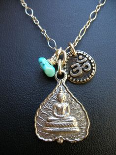 Gypsy Buddha Necklace Turquoise Gold BOHO jewelry Zen Yoga Spiritual global Meditation