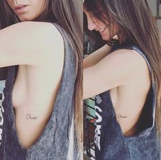 cute, simple, petite ohana tattoo in cursive on side body.