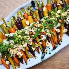 Roasted Carrots With Crushed Garlic, Mint, Toasted Hazelnuts, And Creamy Lemon & Tahini Sauce