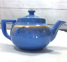 Hall China Blue Cadet Teapot Boston Shape Camellia Gold Trim 2 cup  #hall