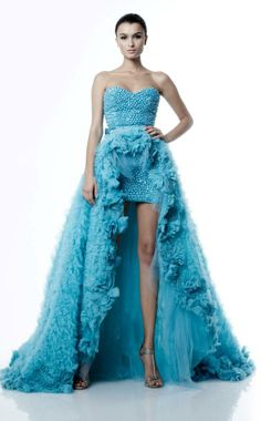 Zuhair Murad | blue | strapless | beadings | waist train with ruffles