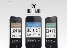 iOS app website design: Flight Card