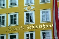 Salzburg, Austria- Getreidegasse 9, Mozart's birth house- his first violin and hammer piano are exhibited here
