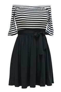 Fashion Sexy Off-shoulder Splicing Skater Dress with Belt AZBRO.com