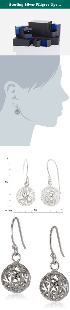 Sterling Silver Filigree Open Ball Drop Earrings. Creative, distinctive and a wearable work of art. This item is rhodium plated so it will not tarnish. Use a polishing cloth to clean. Imported.