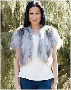 "Silver Fox Foxy Cropped Faux Fur Jacket. Take a shortcut to style with an 18"" cropped jacket that works with everything from jeans to jewels."
