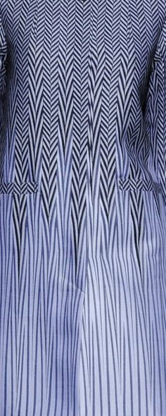 Atsushina Kashima - Fall 2013 -curved pattern pieces on princess panels to distort stripes?
