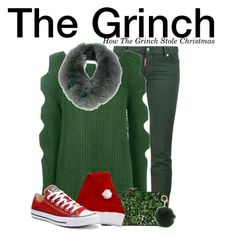 """""""The Grinch - How The Grinch Stole Christmas"""" by nerd-ville ❤ liked on Polyvore featuring Dsquared2, Boohoo, Edie Parker, Converse, MICHAEL Michael Kors, Yves Salomon, men's fashion and menswear"""