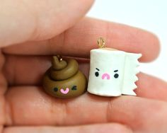Poo and Toilet Paper Polymer Clay Couple/ Best Friends by charmma, $12.00