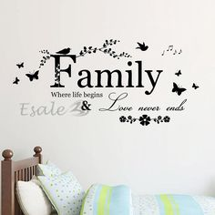 Great Family Bird Butterfly Wall Sticker Art Vinyl Quote Decal Mural Room Home  Decor