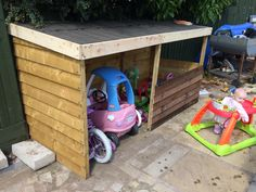 Toy shed barn for garden toys storage Outside Sheds, Shed Playhouse, Bike Shelter, Yard Games, Outdoor Toys, Garden Toys, Toy Storage, Play Houses, Kids Rooms
