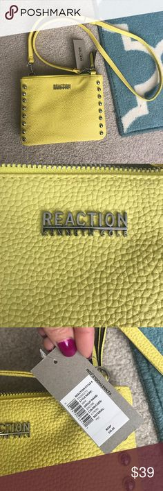 """Kenneth Cole cross body 🍋 Yellow and super cute! Silver studded, adjustable strap crossbody. Perfect for summer, brand new with tags reg $45, 8"""" across 6.5"""" up and down 2 zip compartments and a in between area for quick grab things Kenneth Cole Reaction Bags Crossbody Bags"""