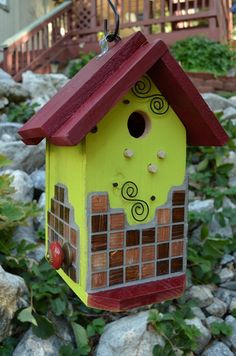 Birdhouse Handmade Wood Mosaic Glass Designer Decorative Birdhouses Functional Garden Yard Art Patio Essentials Birds House Free Shipping