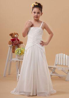 2015 Appliques Zipper Chiffon Sleeveless White Spaghetti Straps Ruched Sweep Train Flower Girl Dresses FGD