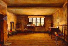 Henry Wallis (Englis painter and writer) 1830 - 1916 The Room in Which Shakespeare Was Born, 1853 oil on board x cm. Tate Britain, London, United Kingdom - Pictify - your social art network Dante Gabriel Rossetti, William Morris, John Everett Millais, Tate Gallery, Gallery Wall, Tate Britain, London United Kingdom, Pre Raphaelite, Art Uk