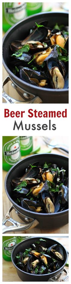 Beer Steamed Mussels - DELICIOUS mussels cooked with beer and garlic herb. So good, MUCH cheaper than restaurants and ready in 10 mins | rasamalaysia.com Fish Dishes, Seafood Dishes, Fish And Seafood, Beer Recipes, Dinner Recipes, Cooking Recipes, Healthy Recipes, Delicious Recipes, Shellfish Recipes