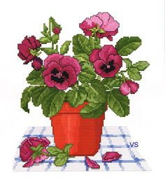 Ellen Maurer-Stroh Counted #crossstitch  PANSY POT #chart #decor #DIY #crafts