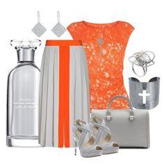 Серые босоножки, серая юбка в пол, оранжевая ажурная кофточка, серая сумка, серебристые украшения