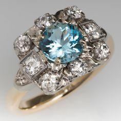 Vintage Aquamarine & Diamond Ring 14K Gold