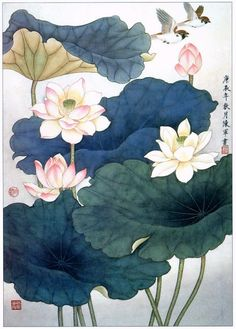 Learn To Draw A Realistic Rose - Drawing On Demand Korean Painting, Chinese Painting, Chinese Art, Lotus Painting, Silk Painting, Korean Art, Asian Art, Botanical Art, Botanical Illustration