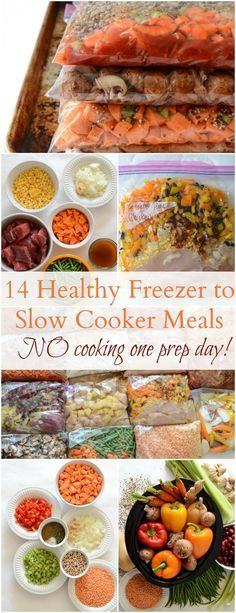 Healthy Meals 14 Healthy Freezer to Slow Cooker Recipes (NO cooking on prep day!) - 14 Healthy Freezer to Slow Cooker Recipes. No cooking on prep day makes this cooking method a dream come true! Slow Cooker Freezer Meals, Healthy Freezer Meals, Dump Meals, Healthy Slow Cooker, Make Ahead Meals, Slow Cooker Recipes, Healthy Recipes, Freezer Recipes, Eat Healthy