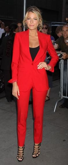 Power suits are for the powerful women of the moment. Or maybe always.This red is rich and gorgeous!