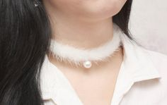 White Mink Pearl Choker Fur Choker Unique Choker for by Jikum