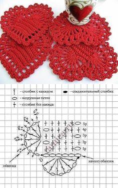 Collection of crochet heart motifs and squares. Patrones de grannys a crochet en corazón Crochet Diagram, Crochet Motif, Crochet Lace, Crochet Flower Patterns, Crochet Flowers, Thread Crochet, Crochet Stitches, Crochet Bookmarks, Crochet Decoration