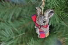 christmas rabbit ornament. needle felted wool by FibersofBeing