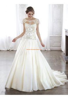 Robe de Mariée princesse satin perles manches courtes 2015