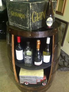Why not use your barrel as a different type of storage unit and bar table also personalize it with your name or company name and logo Barrels, Company Names, Wine Rack, Man Cave, Liquor Cabinet, The Unit, Display, Type, Logo