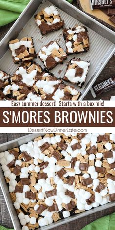 S'mores Brownies takes your favorite boxed mix up a notch with graham crackers, mini marshmallows, and Hershey's chocolate bar pieces. Easy to make and loved by all! Easy Summer Desserts, Unique Desserts, Kinds Of Desserts, Desserts To Make, Best Dessert Recipes, Sweet Recipes, Delicious Desserts, Brownie Desserts, Brownie Recipes