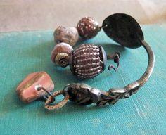 Oligodynamic. Dusty Pink Victorian Tribal Rustic Assemblage Bracelet.
