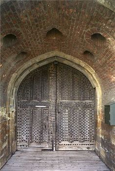 The original, iron-studded oak door lies at the end of a short passageway with murder holes in the ceiling above. Deal Castle was finished in 1540 as part of Henry VIII's scheme to defend the south coast against invasion. This site is now in the care of English Heritage (2010).