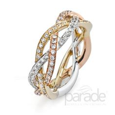 from Parade Design An eternity band of twisting white, yellow