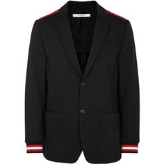 Givenchy Black Stripe-trimmed Cotton Blazer - Size 40 ($1,270) ❤ liked on Polyvore featuring men's fashion, men's clothing, men's sportcoats, organic cotton men's clothing, men's sportcoats and blazers and givenchy mens clothing