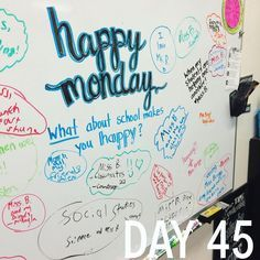 """I think I would use the """"Happy Monday"""" theme to ask students what they did over the weekend. Morning Activities, Writing Activities, Classroom Activities, Classroom Organization, Classroom Whiteboard, Responsive Classroom, Leadership, Classroom Community, School Classroom"""