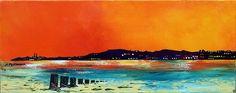 Contemporary mixed media painting of Evening Light Over Portobello Beach, Edinburgh, Scotland.