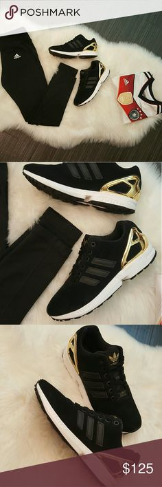 NEW Adidas ZX FLUX Golden Womens size 7.5   Black suede and gold!   Brand new condition!   Accepting only reasonable offers! adidas Shoes Sneakers