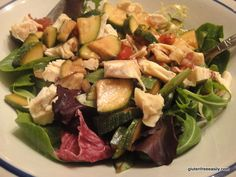 This salad recipe is so easy to put together and a great way to use zucchini! Keep it vegetarian/vegan or top w/meat or seafood for the carnivores & pescaterians. Gluten Free Menu, Gluten Free Recipes, Sugar Free Recipes, Safe Food, Salad Recipes, Zucchini, Healthy Eating, Vegetarian, Free Summer