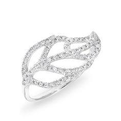 14KT White Gold Diamond Leaf Ring