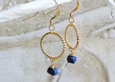 Lapis and Gold Twist Earrings - Gold hook wire twisted gold hoop ring earrings, Royal blue Lapis Lazuli gemstone, wire wrapped natural stone by LunadustStudio on Etsy
