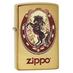 Zippo Lighter: Horse and Horseshoe - Brushed Brass