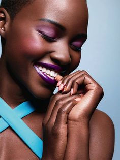ACTRESS LUPITA NYONGO ESSENCE MAGAZINE BRIGHT BEAUTY EDITORIAL SPREAD 2014 PURPLE MATTE EYESHADOW  PINK BLUSH PURPLE LIPSTICK EMBELLISHED NA...